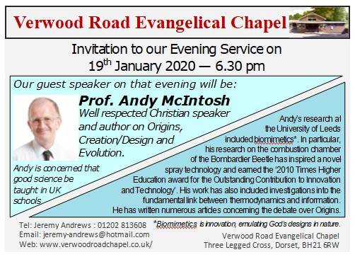 Invitation to hear Prof. Andy McIntosh