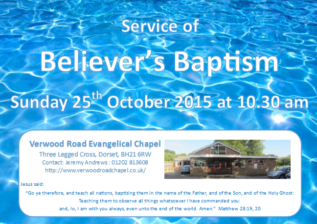 Invitation to join us on Sunday morning for the baptismal service