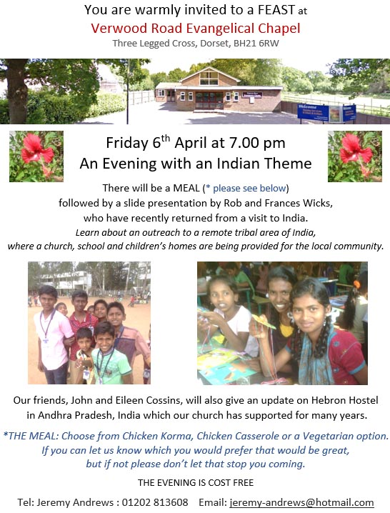 Invite to Indian Evening - Friday 6th April 7.00 pm